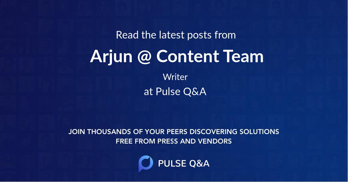 Arjun @ Content Team