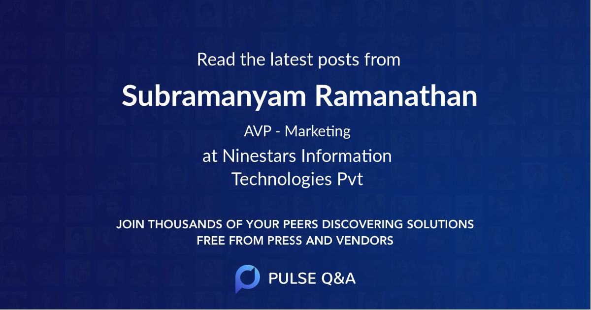 Subramanyam Ramanathan